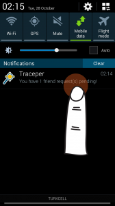 Traceper notifies friendship request(s) on your notification screen first, when you have one or more.